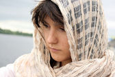 Woman in scarf — Stock Photo
