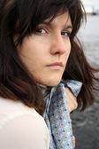 Vacker ledsen kvinna — Stockfoto