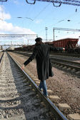 Woman on railway track — Stock Photo