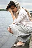 Piękna kobieta smutny — Zdjęcie stockowe