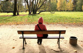 Woman in autumnal park. — Stock Photo