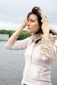 Woman in kerchief — Stock Photo