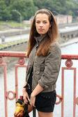 Woman on bridge — Stock Photo