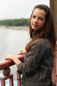 Woman on the brige — Stock Photo