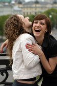 Two friends laughing — Stock Photo