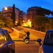 Evening Rome in night light - Stock Photo