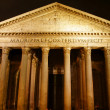 The facade of the Roman Pantheon at night - Stock Photo
