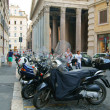 Scooters on the background of the pantheon - Stock Photo