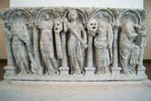 The ancient marble sarcophagus with the Muses — Stock Photo