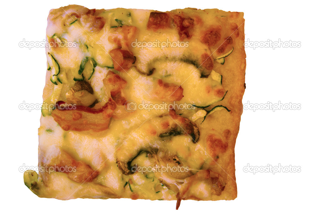 A piece of pizza with ham and vegetables square  Stock Photo #12253931