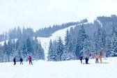 Mountain skiing — Stock Photo