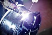 Alloy wheel repair — Stock Photo
