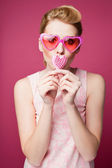 Retro girl with heart symbol — Foto Stock