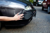 Car expertise checking damage — Stock Photo