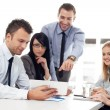 Stock Photo: Group of business working with digital tablet