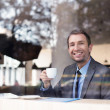 Businessman with coffee — Stock Photo