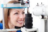 Visiting optometris — Stock Photo