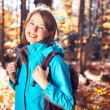 Young woman with backpack hiking — Stock Photo #34454683