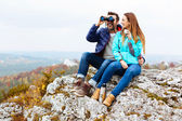 Hikers watching the view — Stock Photo