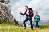 Backpackers hiking — Stock Photo
