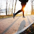 Running at autumn morning — Stock Photo