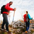 Stock Photo: Couple hiking in mountains