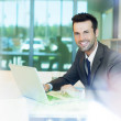 Handsome businessman working on laptop — Stock Photo #36191649
