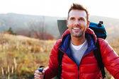 Felice giovane escursionismo — Foto Stock