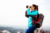 Female hiker admiring the view — Stock Photo