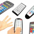 Collection of tv remotes and calculators - Stock Photo