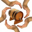 Hands make gestures with barrel — Stock Photo #12162645