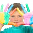 Child's hand painted colors - Stock Photo