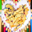 Crayons in the form of heart - Stock Photo