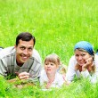 Stock Photo: A young family on the field
