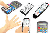 Collection of tv remotes and calculators — Stock Photo