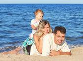 上了岸的海家庭 — 图库照片