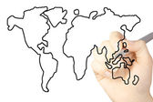 Hand draws a map of the world isolated on a white background — Stock Photo