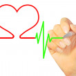 Hand drawing heart beat - Stock Photo