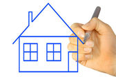 Hand Drawing House — Stock Photo