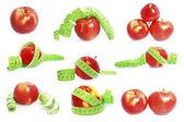 яблоки и измерительные ленты — Стоковое фото