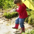 Beautiful little girl outdoors in rubber boots — Stock Photo #13337126