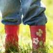 Legs of a little girl in rubber boots - Stock Photo