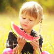 Beautiful little girl on nature eating watermelon — Stock Photo