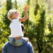 Beautiful little girl playing with her father in nature — Stock Photo #13411729