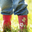 Legs of a little girl in rubber boots — Stock Photo