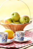 Tea and fruit outdoors at picnic — Stock Photo