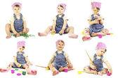 Beautiful little girl paints — Stock Photo