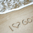 Writing on the sand - Stockfoto