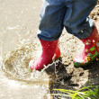 Beautiful little girl outdoors near a lake in rubber boots — Stock Photo #14249117