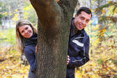 Couple in love outdoors — Стоковое фото